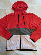 New UNDER ARMOUR Mens 2XL Zip Front Built In Headphones Red Jacket NWT