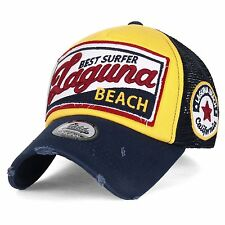ililily LAGUNA BEACH Vintage Distressed Trucker Hat Snapback Baseball Cap , Navy