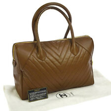 Auth CHANEL V-stitch Quilted CC Hand Bag Brown Caviar Skin Leather GHW V07813