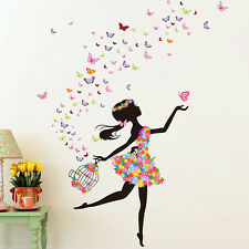 Flower Girl Removable Wall Art Sticker Vinyl Decal PVC DIY Room Home Mural Decor