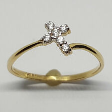 14K solid yellow gold small Cross shape, white Topaz ring, 1.0 gram, size 7
