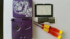 CARCASA COMPLETA+PANTALLA COMPATIBLE GAME BOY ADVANCE SP MARIO PURPLE NEW/NUEVO