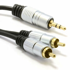 1m Pro Audio Metal estéreo de 3,5 mm Jack A 2 Rca Phono Plugs Cable Gold [ 006940 ]