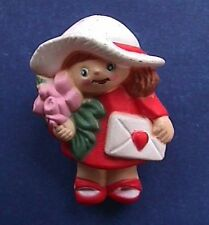 Buy3/Get1FREE~VALENTINES Pin GIRL w CARD & ROSES FLOWERS Vtg Holiday Signed
