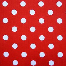 "Red 100% Cotton 1/4"" White Polka Dot Spot Fabric P/Mtr"