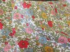 "Red & Green ""Pastel""  Floral/Flowers 100% Cotton Poplin Printed Fabric."