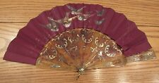 Ornate antique Chinese hand carved fan silver overlay signed scene birds robins
