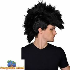 80'S PUNK ROCKER BLACK MOHICAN WIG MOHAWK ROCK GOTH EMO Mens Fancy Dress costume
