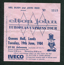 1984 Elton John concert ticket stub Leeds UK European Express Tour Rocket Man