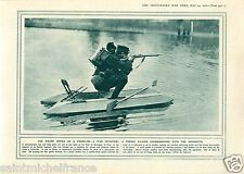 Water Sniper Hydro-Ski Poilu / Anti-Aircraft Zeppelin UK WWI 14 18 PLANCHE 1916
