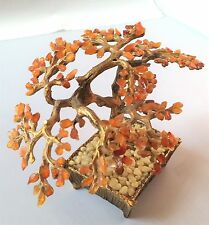 "4.5"" SWOBODA GEMSTONE Bonsai TREE Sculpture COMPLETE Carnelian Mid-Century Decor"