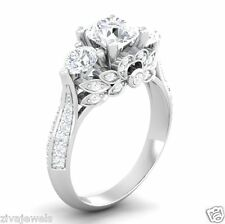 3.0 Carat White Diamond Solitaire Modern Antique 14K White Gold Wedding Ring