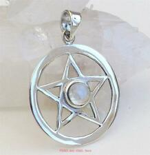Pentacle Pendant Pentagram Sterling Silver Rainbow Moonstone Crystal pagan wicca