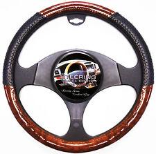 Wood Grain Black Car Steering Wheel Cover Luxury Style