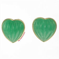 14k Yellow Solid Gold Shell Heart Shaped Green Jade Stud Earrings