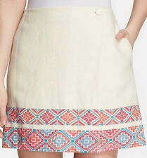 NWT $295 Tory Burch 'Ruby' Embroidered Mini Skirt Ivory Size:12