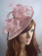 Heather Pink Sinamay & Feathers Teardrop Fascinator - Occasion Wedding Races Hat