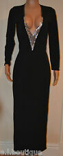 VICKY MARTIN black fitted silver sequin low cleavage plunge MAXI dress BNWT 8 10