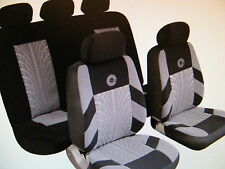 AUDI BMW AUSTINUniversal Car Seat Covers Full Set Grey/Black Velour Fabric 14402