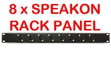 """1U Black Plate Panel 19"""" with 8 x Speakon Road Case Server Rack Space Mount 1RU"""