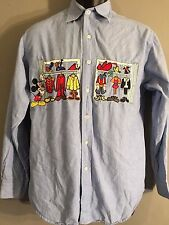 Mickey Mouse Costume Closet Embroidered Stitched Mens Small S Button-Front Shirt