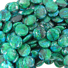 """20mm blue green chrysocolla coin beads 15.5"""" strand"""