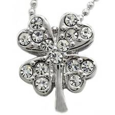 Irish Good Luck Shamrock Charm 4 Leaf Clover Necklace Pendant Jewelry n589clr