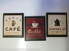 Coffee 3pc Plaques, Kitchen wall decor bistro shop signs, Paris Cafe red beige