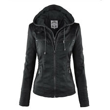 HOT Women Thicken PU Leather Warm Winter Coat Hood Parka Overcoat Jacket Outwear