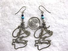 TEXAS COWBOY LASSO LARIAT ROPE Sterling Silver Earrings By Berbi # 10