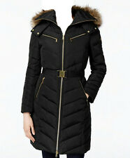 NWT MICHAEL Michael Kors Faux Fur Hood Belted Down Puffer Coat  Black (XL)