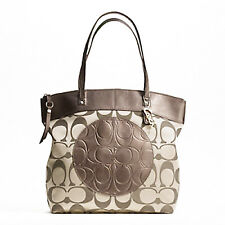 NWT COACH LAURA Signature LARGE Full Zip TOTE HANDBAG in BROWN KHAKI 18335 NEW!