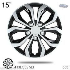 "New 15"" Hubcaps Spyder Performance Black and Silver Wheel Covers For Nissan 553"