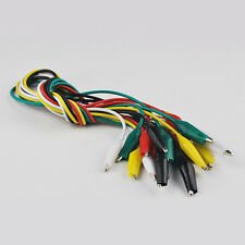 10pcs Double-ended Alligator Roach Clip Cable Jumper Wire Test Leads 50cm 5Color