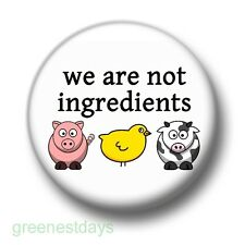 We Are Not Ingredients 1 Inch / 25mm Pin Button Badge Vegan Vegetarian Meat Free