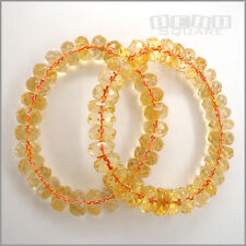 1PC Natural Yellow Citrine Faceted Rondelle Beads Stretch Bracelet ap.12mm 15187