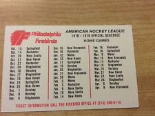 Vintage 1978-79 AHL Philadelphia Firebirds Hockey Pocket Schedule Original