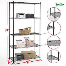 """73""""x36""""x14"""" Heavy Duty 5 Tier Layer Wire Steel Shelving Rack Shelf Adjustable"""