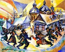 CUBIST RUSSIAN DANCE CELEBRATION BY CHURCH IN WINTER Ari Roussimoff Painting