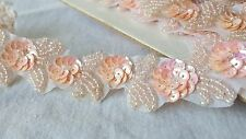 3cm- 1 meter Beautiful baby pink sequins and beaded floral handmade lace trim