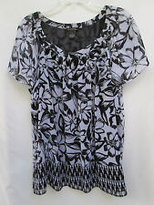 Nue Options Plus Womens 1X 100% Polyester Black & White Sheer Floral Blouse
