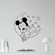 Mickey Mouse Baby Sleeping Wall Decal Vinyl Sticker Nursery Disney Decor 96bar