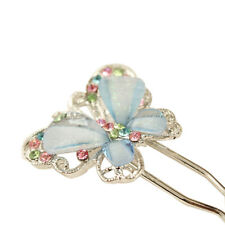 Fashion Cute Girls Shining Crystal Butterfly Hairpin Blue Hair Accessories