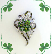 GREEN CRYSTAL SHAMROCK 3 LEAF CLOVER FLOWER BROOCH PIN~ST PATRICKS DAY GIFT