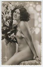 c 1930 Deco Sexy SMILING NUDE BEAUTY French Risque photo postcard