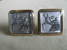 Men Vintage HUGE TANGO DANCERS CUFFLINKS Costume Jewelry Accessories  F-4