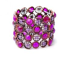 Purple Jewelled Stretch Bracelet With An Antique Gold Detail Finish