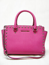 NWT MICHAEL KORS SELMA STUD MEDIUM TZ SATCHEL HAND BAG 30T3GSMS2L RASPBERRY