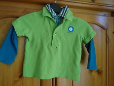 Boys lime green and blue long sleeve 2 layer top, BEN SHERMAN, 12-18 months