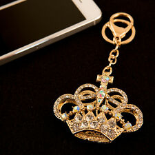 Gold Crown Rhinestone  Crystal Charm Pedant Purse Key Chain Gift Golden